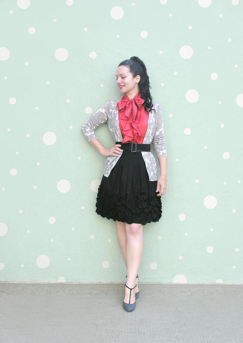 Top orange black skirt polka dots smaller