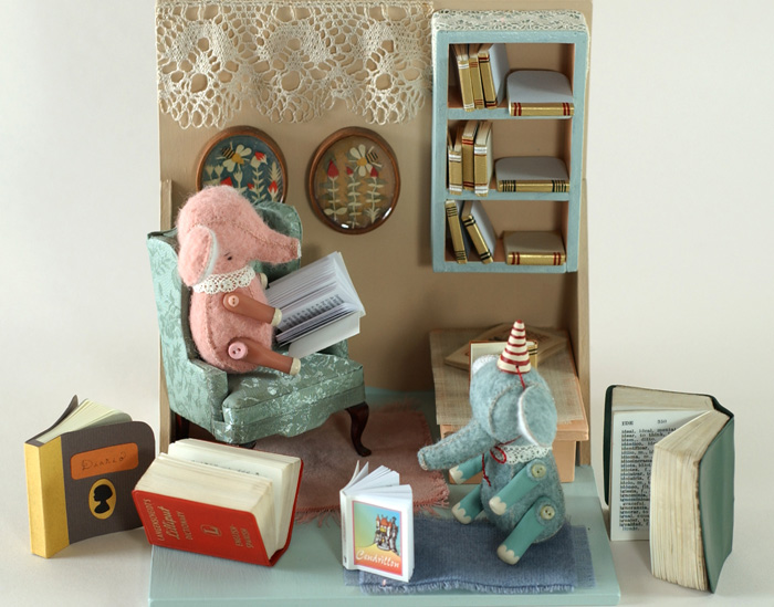 miniature artists' books by Elsita, still life with cute elephants