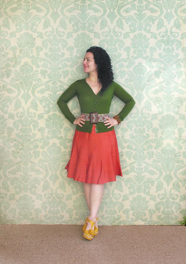 Orange skirt con fondo small