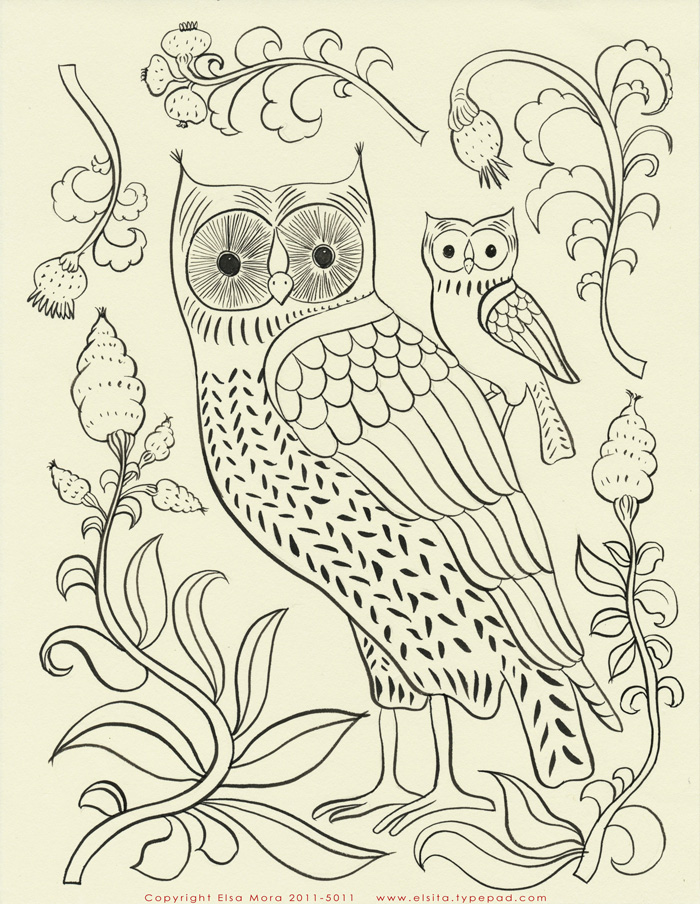 Owl embroidery pattern small.