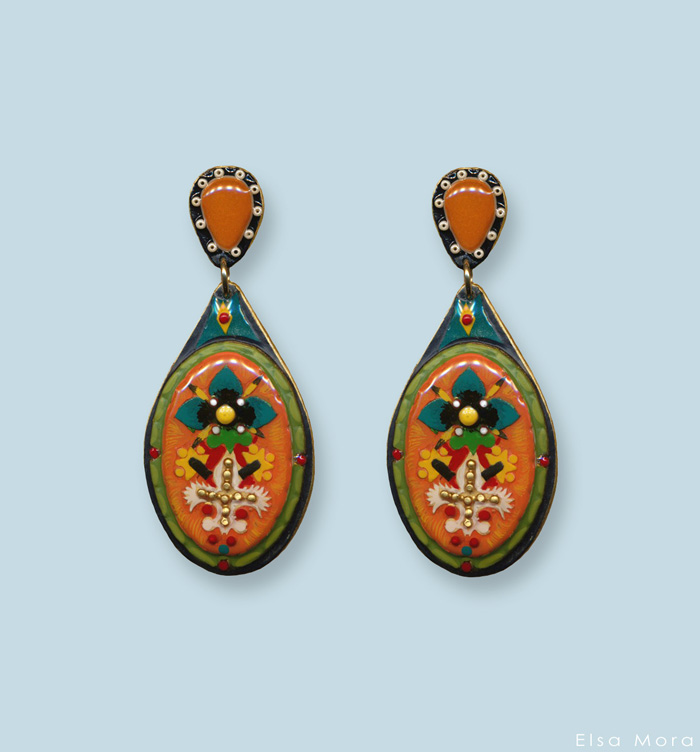 Orange earrings small