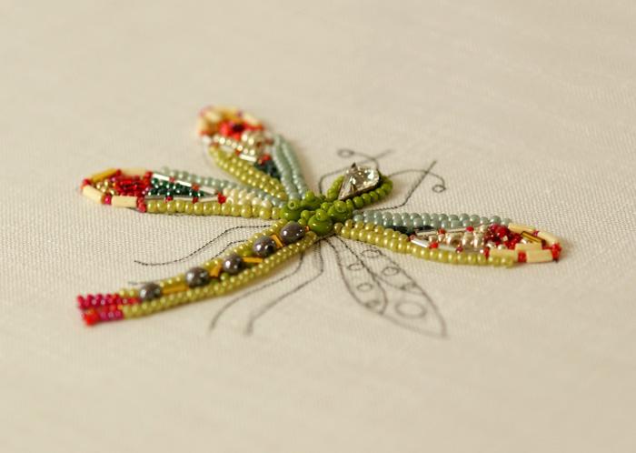 Elsa Mora Dragonfly Bead Embroidery In Progress