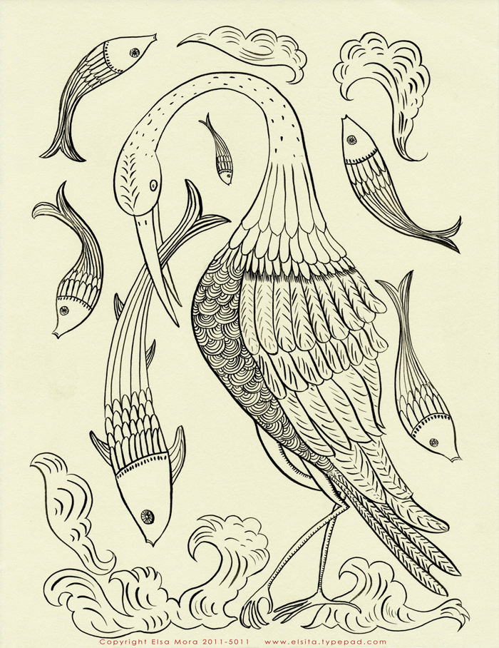 Bird and fish embroidery pattern small.