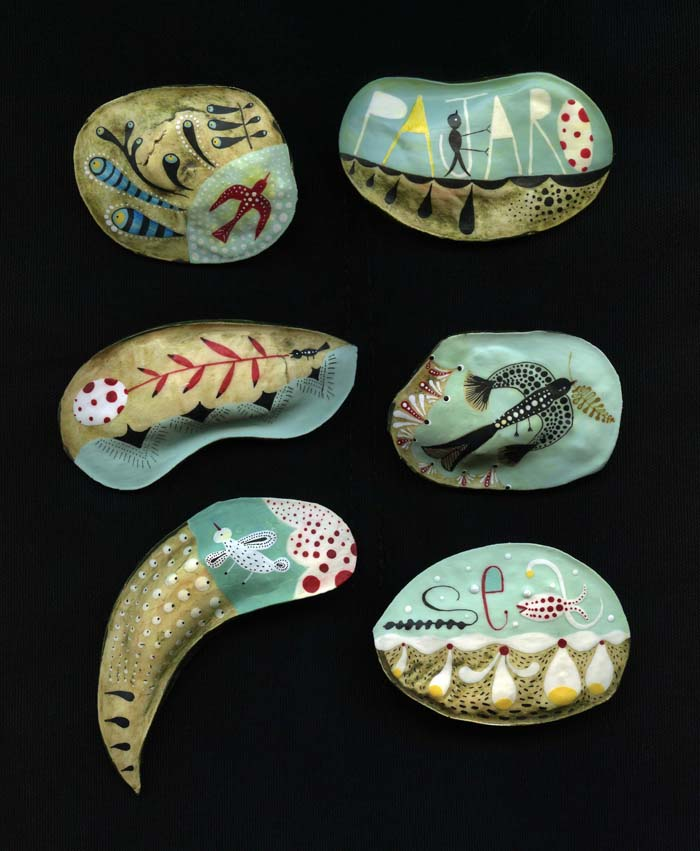 6 art brooches