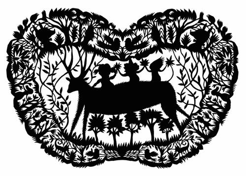 58children_and_deer_papercut_print_